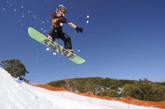 Snowboarding at Mt Baw Baw near Melbourne Victoria