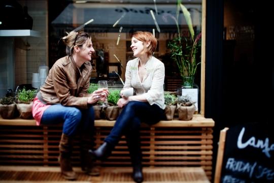 Shelagh Ryan (right) and sister Caitlin outside Lantana